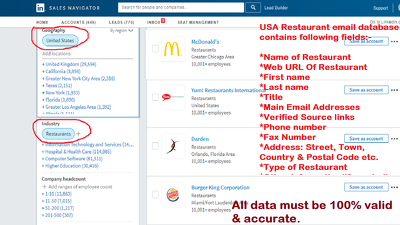 Do collect 1000 USA restaurant & hotel email database