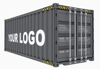 Deliver realistic 3d shipping container -(your company logo)