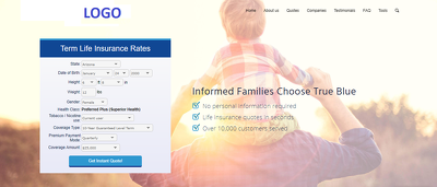 Insurance website with online booking system