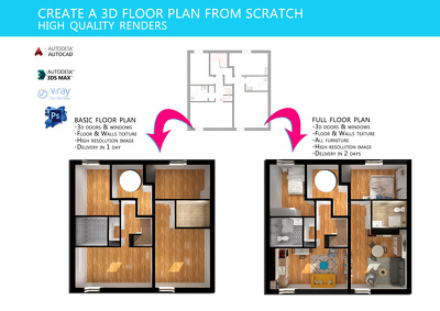 Do 3D floor plan , floorplan , architectural interior render in 3ds max