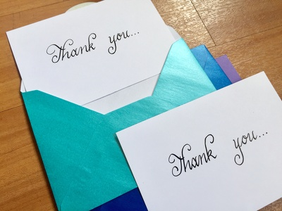 Hand write up to 5 calligraphy greeting postcards/envelopes