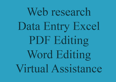 Work on Web research and Data Entry projects