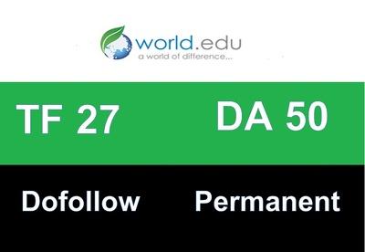 Publish a guest post on world.edu, a DA50, TF26, PR9 .edu blog