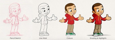 Create your Cartoon Character from Pencil Sketch to Full Colour Vector Graphic