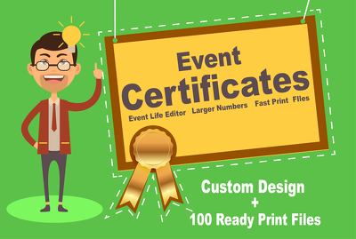 Make a design and up to 100 ready print certificate files of your life event