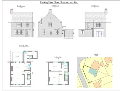 Draw full set of floor plans and elevations from survey notes, or client measurements
