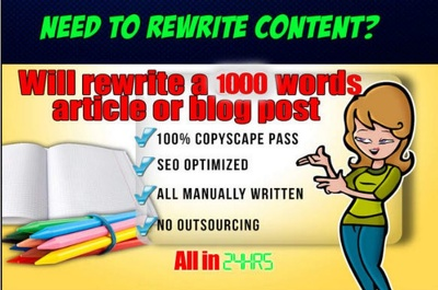 Write OR Rewrite Your 1000 word Article to Pass Copyscape in 24 Hours
