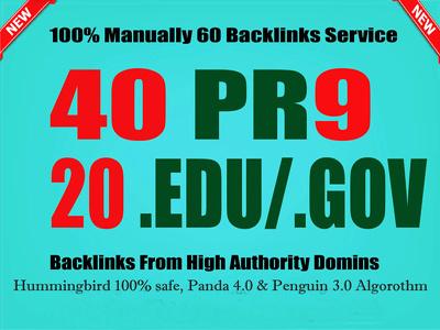 I'll Manually Do 40 PR9+20 EDU/GOVT Safe SEO High Pr Backlinks With Best Results