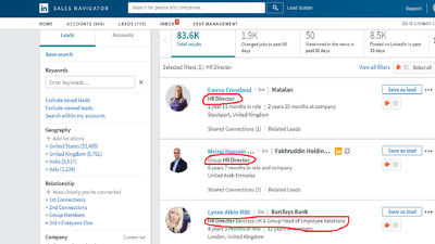 collect 500 HR contact email list using LinkedIn Sales Navigator