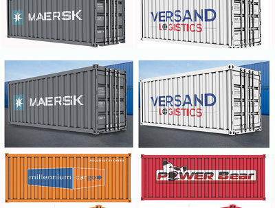Deliver realistic 3d shipping container -company logo