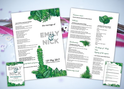 Wedding design work package! - Invitations, Order of Service, Menus, signage etc