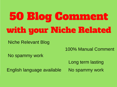 Build 50 niche relevant blog comment quality work