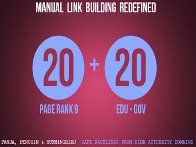 Provide 20 PR9 + 20 EDU - GOV Backlinks From Authority Domains