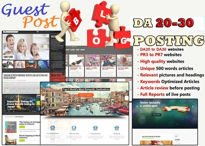 I will Place 10 unique guest blog posts on DA20-30 websites