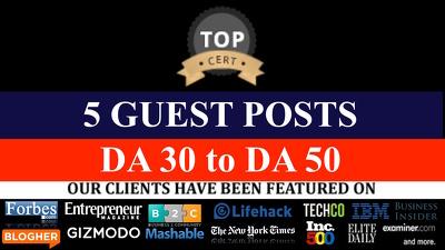 SEO Link Building - 5 guest post on DA 30 to DA50 : All niche accepted!