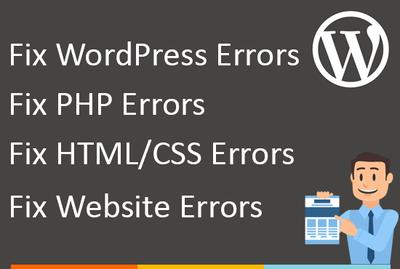 Fix any error in WordPress/WordPress Theme/PHP/MYSql/CSS/HTML/Javascript/Cms