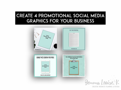 Create 4 promotional opt in ebook social media graphics for your business
