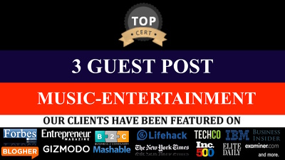 3 GUEST POSTS ON Entertainment, Movie, Celebrities, Music niche LINKS DA 20 -DA50