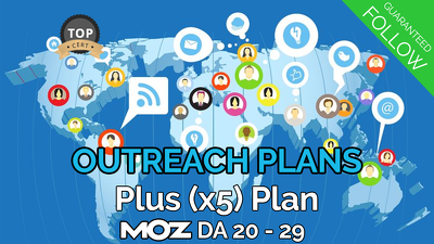 (x5) outreach PLUS plan, guaranteed FOLLOW, Moz DA20+