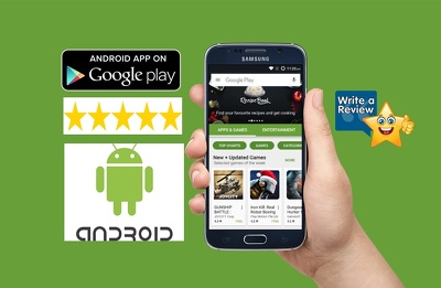 Provide 50 android app review with 5 star rating on your App on Google play