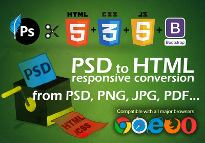 Convert PSD To Responsive Html, Css, Bootstrap, Jquery