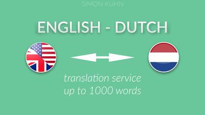 Dutch  English translation - 1000 words