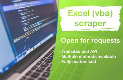 Develop Excel (VBA) scraper (multiple methods available)