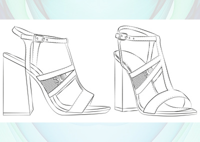 CAD a shoe design of your choice in side and 3/4 view