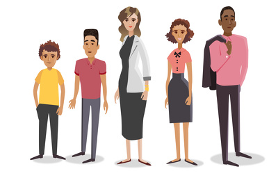 Illustrate a set of 5 characters as vectors (in 2 poses each) in half a day.