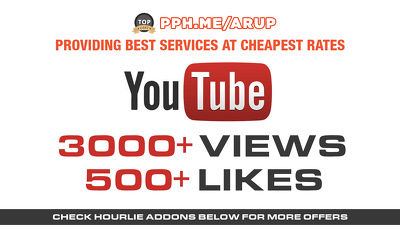 Add 3000+ youtube views and 500 likes for youtube SEO Ranking