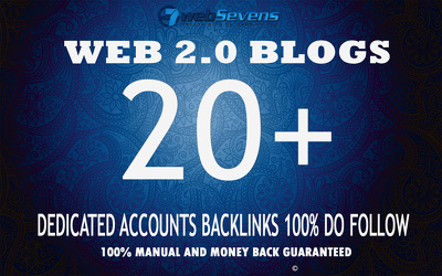 Manually Build 20 Web 2.0 blogs Dedicated accounts  100% DO follow Backlinks