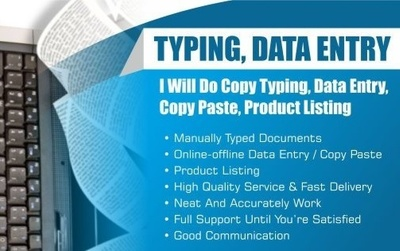 Do data entry and copy typing works in just 1 day