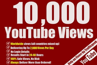 Instant provide 10000 HQ Safe youtube views