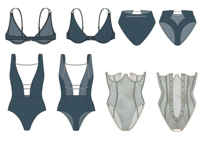 Design an 8 piece swimwear collection
