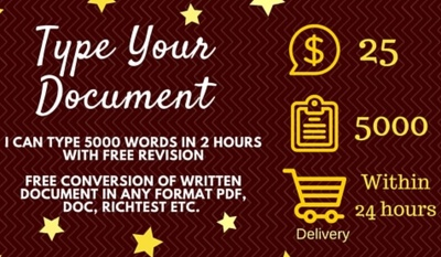 Type 5000 words in 2 hours Deliver Same Day of Purchase