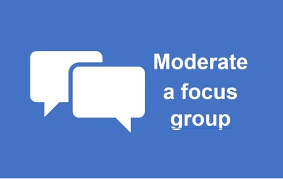Moderate one 1.5 hour focus group (in the UK or online)