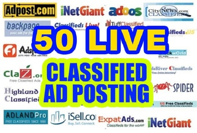 Post your ads on 50 top rated classified sites