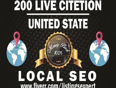Manually build USA 200 live google map citations for Local SEO