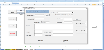 Design an excel Auto-Form for data entry, printing and reports.
