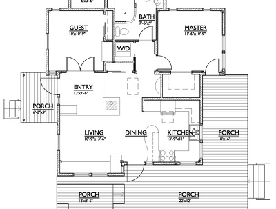Design a floor plan layout for residential building