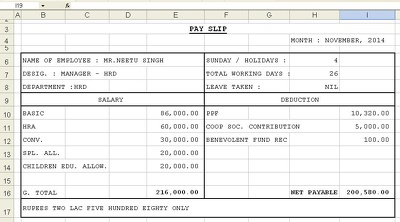 Make salary pay slip,maintain stock in Excel