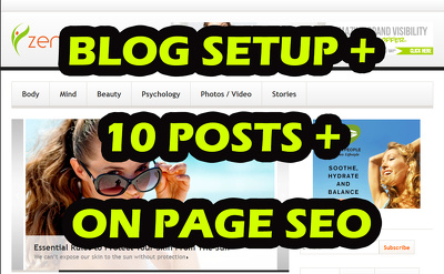 Install, setup Wordpress with 10 posts + on-page SEO