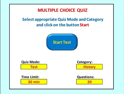 Create interactive multiple choice quiz / test in Excel