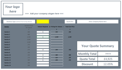 I can create a bespoke Excel calculator for your business