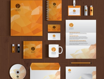 Design stationary pack biz card, letterhead, envelope, A4 folder