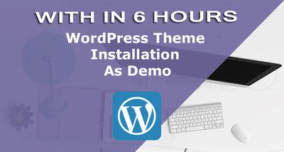 Install wordpress theme to look exactly like demo