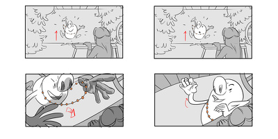 Create a 6 panel, grey scale storyboard