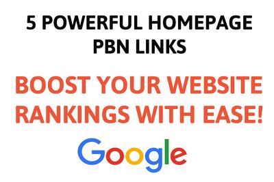 Create 5 Powerful Homepage PBN Posts - SEO Backlinks