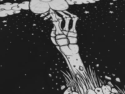 Create a unique black and white hand-drawn illustration