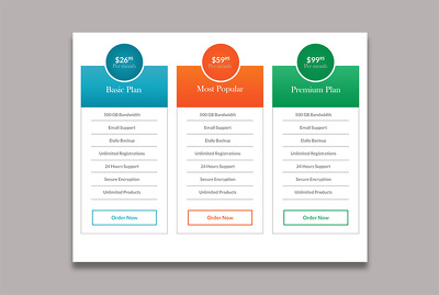 Design psd pricing table